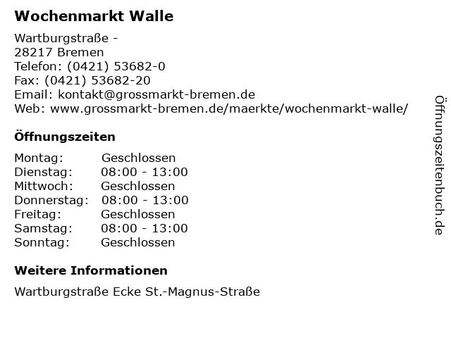 Wochenmarkt Walle in Bremen: Adresse und Öffnungszeiten