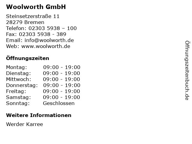 Woolworth GmbH in Bremen: Adresse und Öffnungszeiten