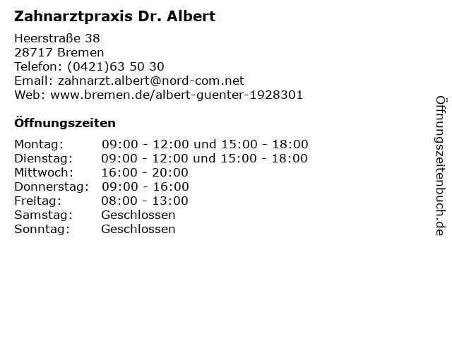 Zahnarztpraxis Dr. Albert in Bremen: Adresse und Öffnungszeiten