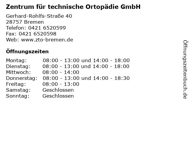 Zentrum für technische Ortopädie GmbH in Bremen: Adresse und Öffnungszeiten