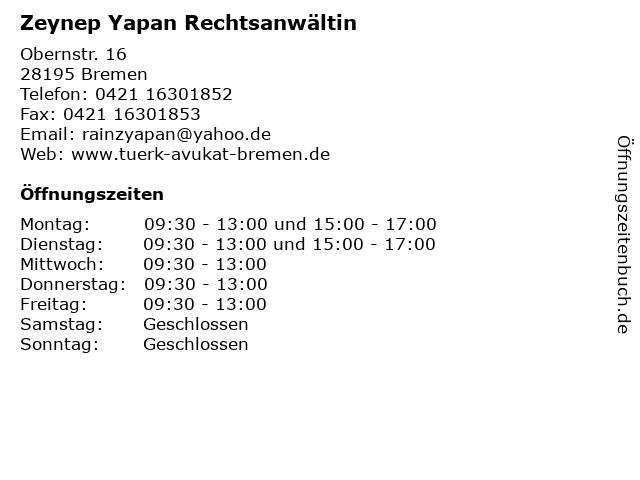 Zeynep Yapan Rechtsanwältin in Bremen: Adresse und Öffnungszeiten
