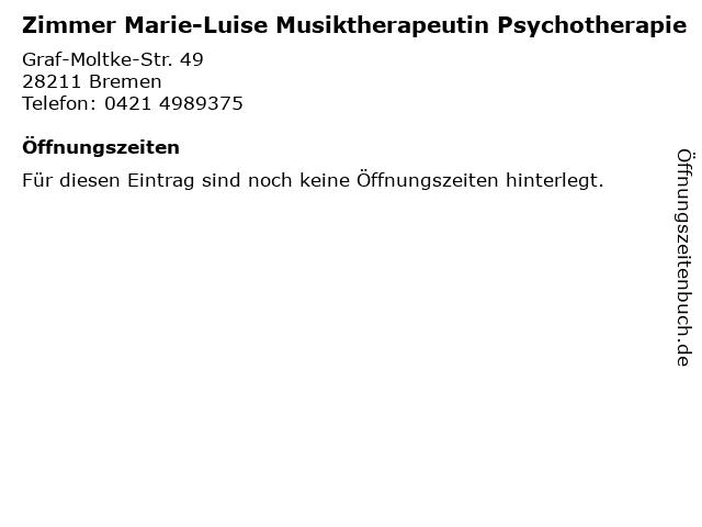 Zimmer Marie-Luise Musiktherapeutin Psychotherapie in Bremen: Adresse und Öffnungszeiten