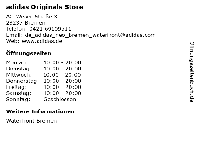 adidas Originals Store in Bremen: Adresse und Öffnungszeiten