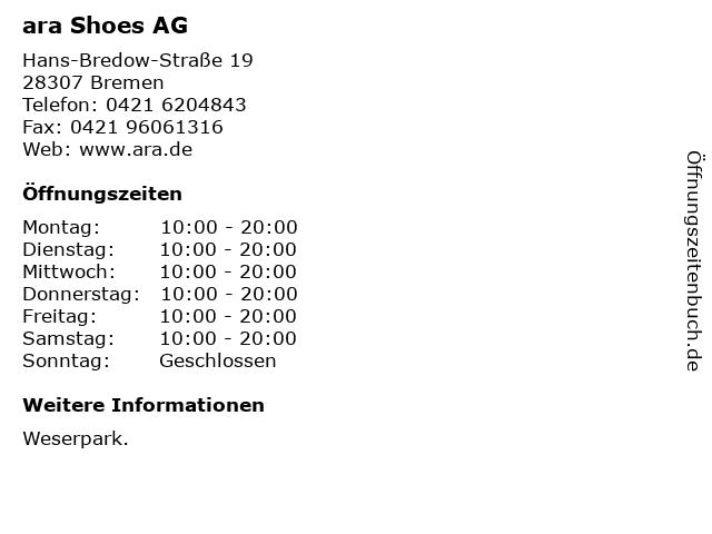 ara Shoes AG in Bremen: Adresse und Öffnungszeiten