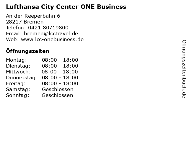 atlantic Reisebüro Lufthansa City Center - Business Travel in Bremen: Adresse und Öffnungszeiten