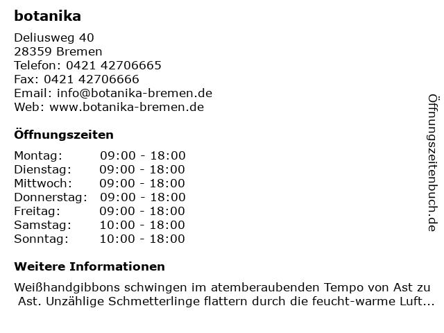 botanika GmbH in Bremen: Adresse und Öffnungszeiten