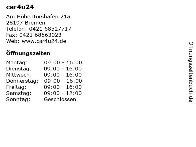 car4u24 in Bremen: Adresse und Öffnungszeiten