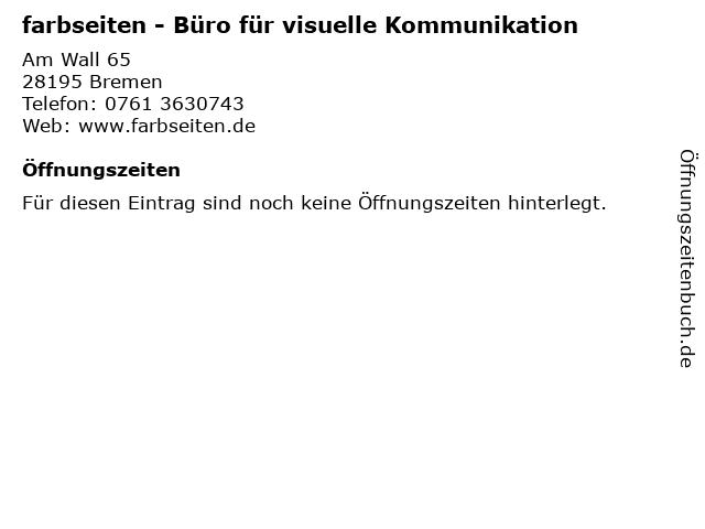 farbseiten - Büro für visuelle Kommunikation in Bremen: Adresse und Öffnungszeiten