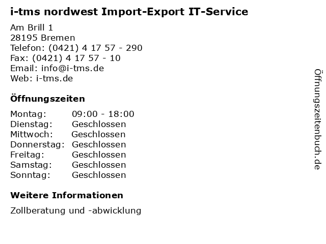i-tms nordwest Import-Export IT-Service in Bremen: Adresse und Öffnungszeiten