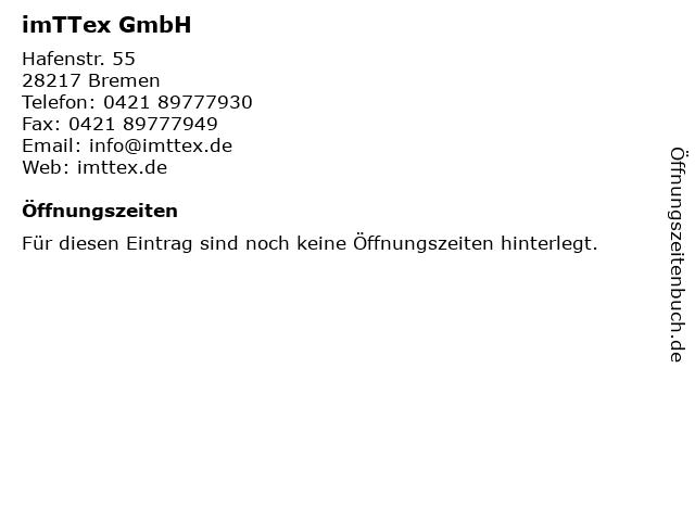 imTTex GmbH in Bremen: Adresse und Öffnungszeiten