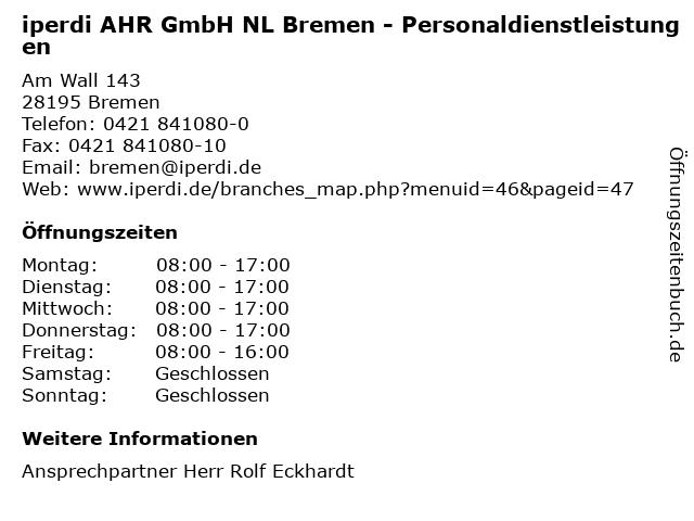 iperdi AHR GmbH NL Bremen - Personaldienstleistungen in Bremen: Adresse und Öffnungszeiten