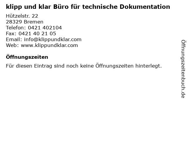 klipp und klar Büro für technische Dokumentation in Bremen: Adresse und Öffnungszeiten