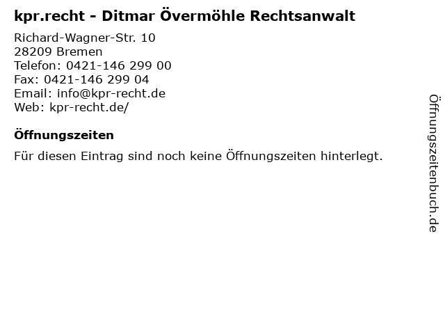 kpr.recht - Ditmar Övermöhle Rechtsanwalt in Bremen: Adresse und Öffnungszeiten