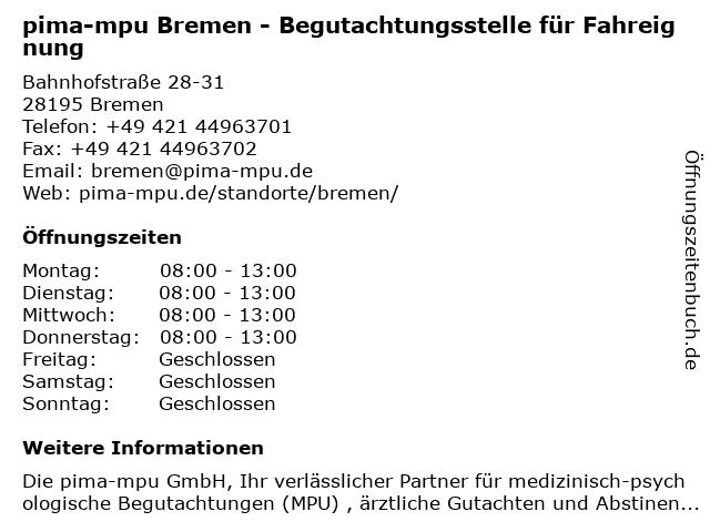 pima-mpu Bremen - Begutachtungsstelle für Fahreignung in Bremen: Adresse und Öffnungszeiten
