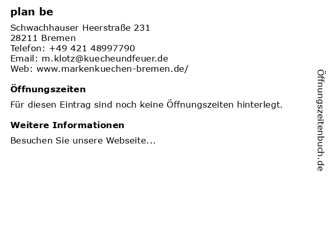 plan be in Bremen: Adresse und Öffnungszeiten