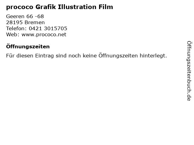 prococo Grafik Illustration Film in Bremen: Adresse und Öffnungszeiten