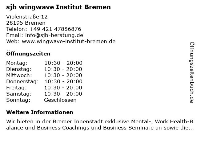 sjb wingwave Institut Bremen in Bremen: Adresse und Öffnungszeiten