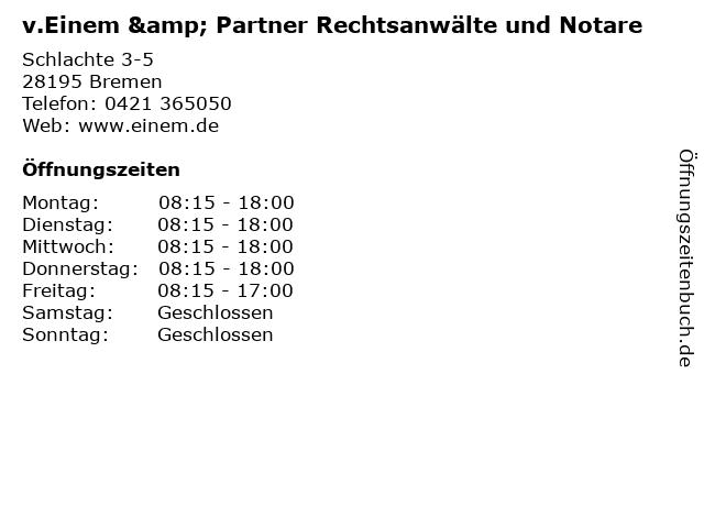 v.Einem & Partner Rechtsanwälte und Notare in Bremen: Adresse und Öffnungszeiten