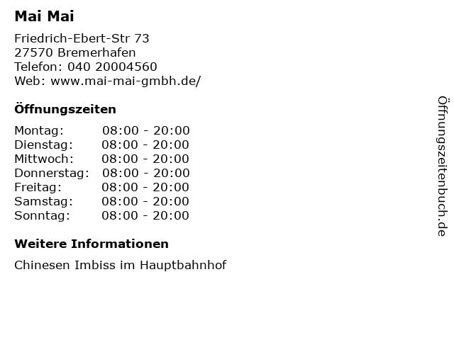 Mai Mai in Bremerhafen: Adresse und Öffnungszeiten