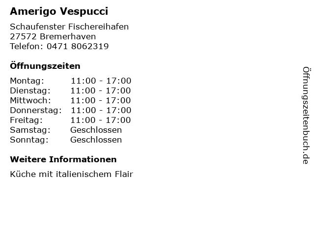 Amerigo Vespucci in Bremerhaven: Adresse und Öffnungszeiten