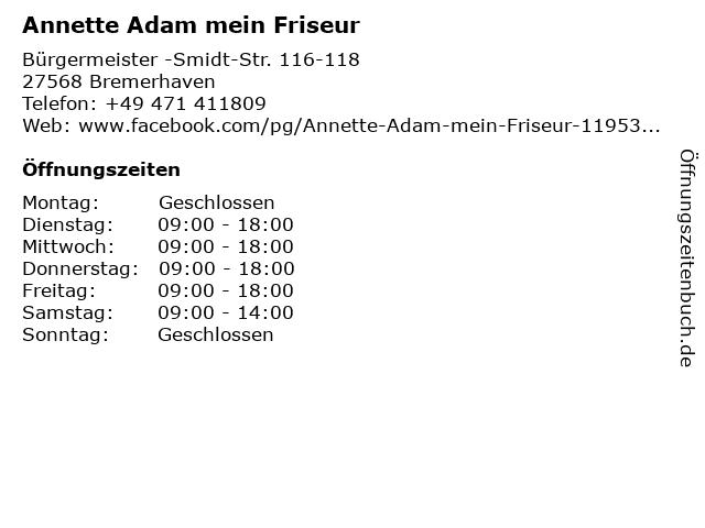 Annette Adam mein Friseur in Bremerhaven: Adresse und Öffnungszeiten