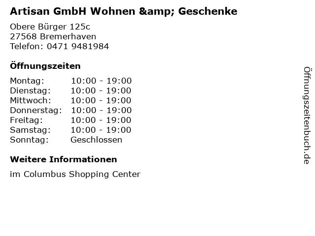 Artisan GmbH Wohnen & Geschenke in Bremerhaven: Adresse und Öffnungszeiten