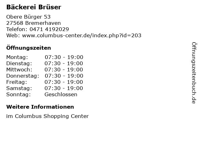 Bäckerei Brüser in Bremerhaven: Adresse und Öffnungszeiten