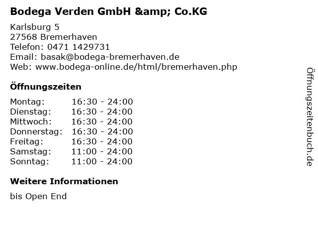 Bodega Verden GmbH & Co.KG in Bremerhaven: Adresse und Öffnungszeiten