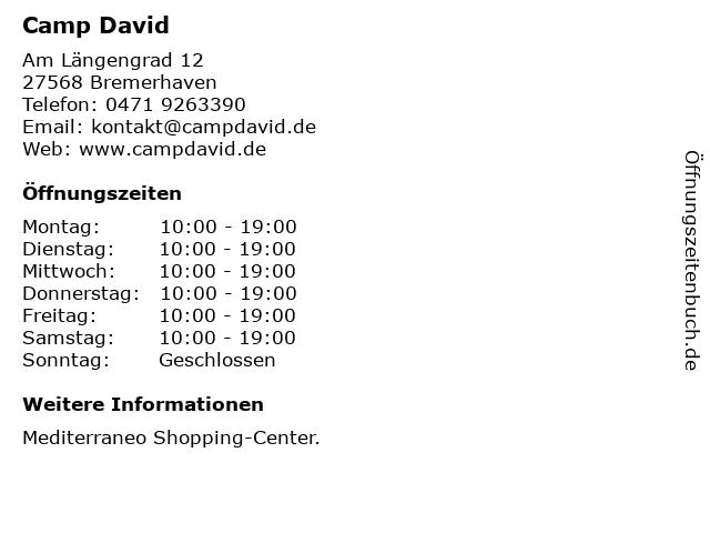 Camp David in Bremerhaven: Adresse und Öffnungszeiten