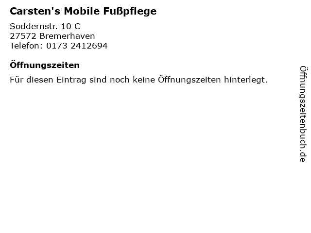 Carsten's Mobile Fußpflege in Bremerhaven: Adresse und Öffnungszeiten