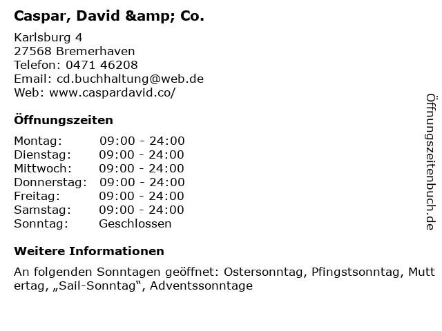Caspar, David & Co. in Bremerhaven: Adresse und Öffnungszeiten