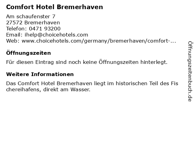 Comfort Hotel Bremerhaven in Bremerhaven: Adresse und Öffnungszeiten