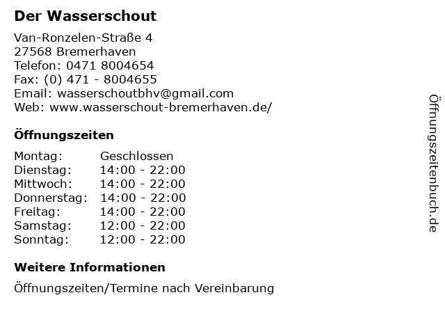 Der Wasserschout in Bremerhaven: Adresse und Öffnungszeiten
