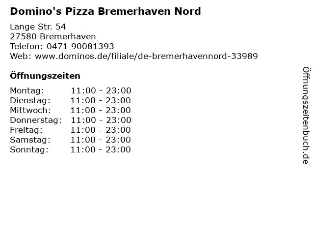 Domino's Pizza Bremerhaven Nord in Bremerhaven: Adresse und Öffnungszeiten