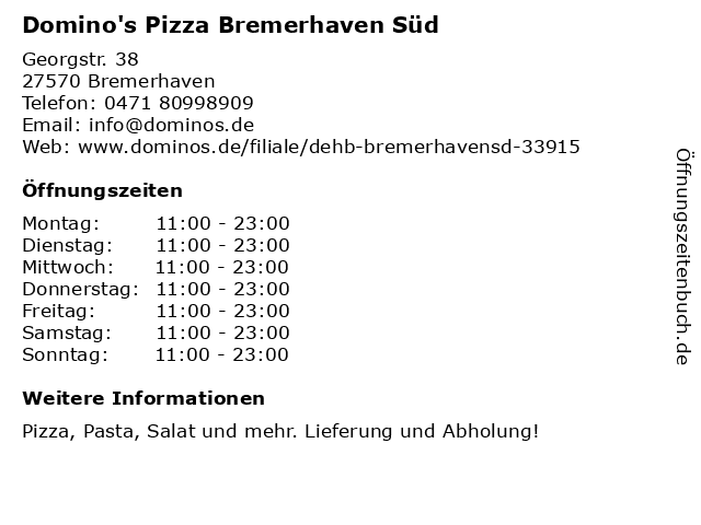 Domino's Pizza Bremerhaven Süd in Bremerhaven: Adresse und Öffnungszeiten