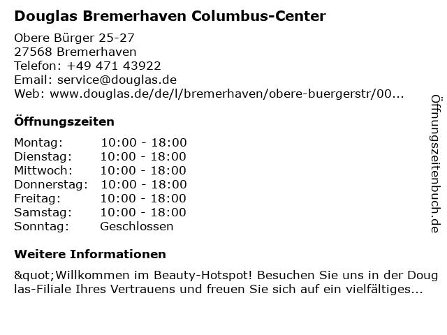 Parfümerie Douglas Bremerhaven in Bremerhaven: Adresse und Öffnungszeiten