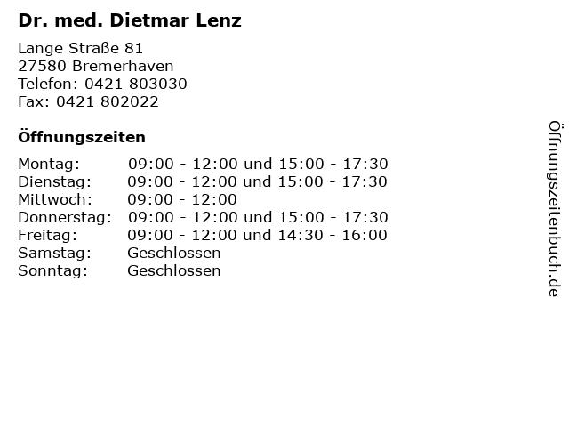 Dr. med. Dietmar Lenz in Bremerhaven: Adresse und Öffnungszeiten