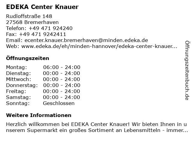 EDEKA Center Knauer in Bremerhaven: Adresse und Öffnungszeiten
