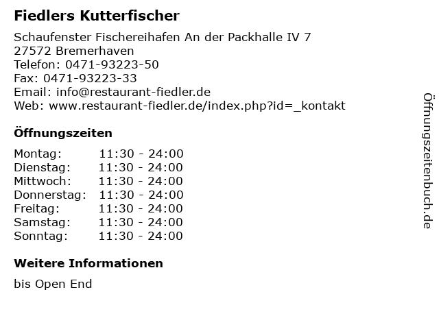 Fiedlers Kutterfischer in Bremerhaven: Adresse und Öffnungszeiten