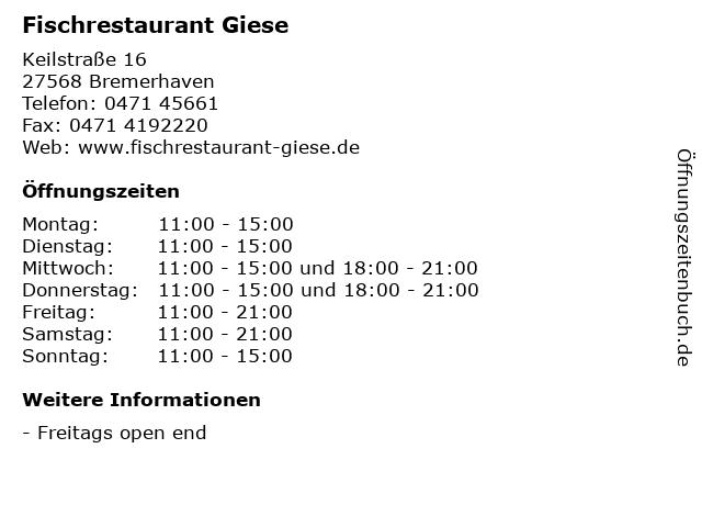 . ffnungszeiten  Fischrestaurant Giese    Keilstra e 16 in Bremerhaven