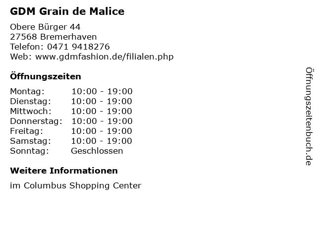 GDM Grain de Malice in Bremerhaven: Adresse und Öffnungszeiten