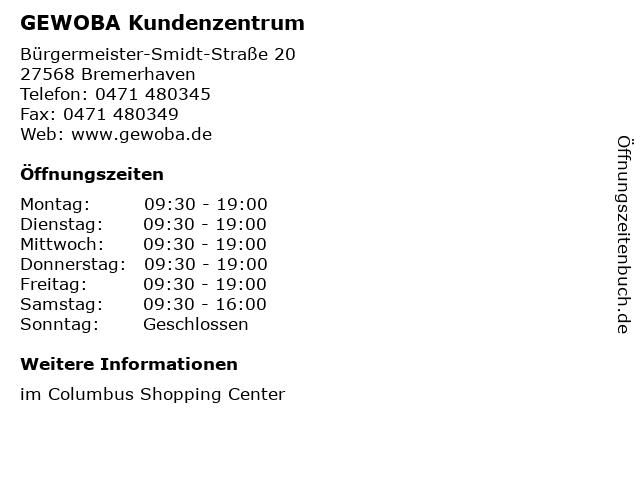 GEWOBA Kundenzentrum in Bremerhaven: Adresse und Öffnungszeiten