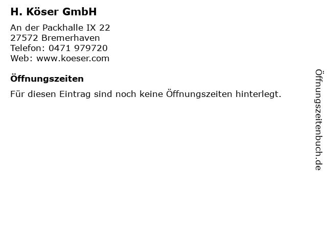 H. Köser GmbH in Bremerhaven: Adresse und Öffnungszeiten