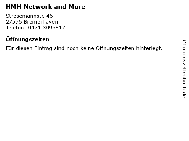 HMH Network & more in Bremerhaven: Adresse und Öffnungszeiten