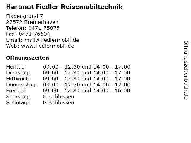 Hartmut Fiedler Reisemobiltechnik in Bremerhaven: Adresse und Öffnungszeiten