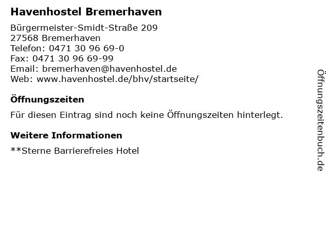 Havenhostel Bremerhaven in Bremerhaven: Adresse und Öffnungszeiten