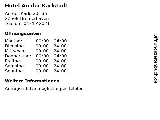 Hotel An der Karlstadt in Bremerhaven: Adresse und Öffnungszeiten
