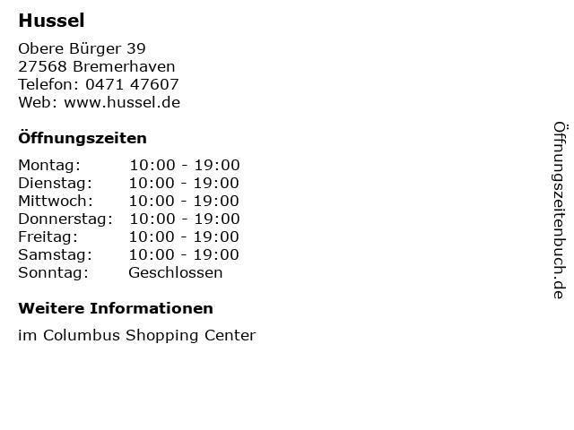 Hussel Süßwaren-Fachgeschäfte GmbH in Bremerhaven: Adresse und Öffnungszeiten