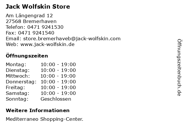 Jack Wolfskin Store in Bremerhaven: Adresse und Öffnungszeiten