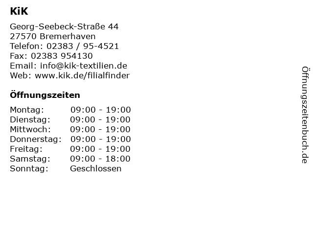 KiK in Bremerhaven: Adresse und Öffnungszeiten